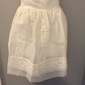 Vintage White Lace Apron with wide Satin waste tie